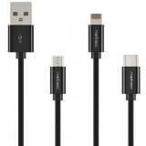 KABEL 3W1 USB-A-MICRO USB+USB-C+LIGHTNING 1M CZARNY
