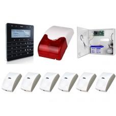 Zestaw alarmowy SATEL Integra 32, klawiatura sensoryczna, 6 czujek, sygnalizator wewnętrzny