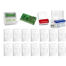 Zestaw alarmowy SATEL Integra 64, Klawiatura LCD, 14 czujników ruchu, sygnalizator zewnętrzny SPL-2030