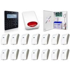 Zestaw alarmowy SATEL Integra 64, klawiatura sensoryczna, 14 czujek, sygnalizator zewnętrzny