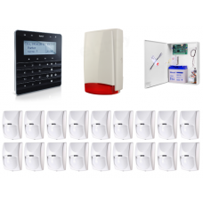Zestaw alarmowy SATEL Integra 64, Klawiatura sensoryczna, 16 czujek ruchu, sygnalizator zewnętrzny