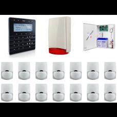 Zestaw alarmowy SATEL Integra 128, klawiatura sensoryczna, 14 czujek, sygnalizator zewnętrzny